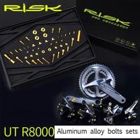 RISK 49pcs/set TC4 Titanium Alloy C Caliper+Brake+Front&Rear Derailleurs Bolts Screw for Shimano Ultegra R8000 Road Bike Bicycle