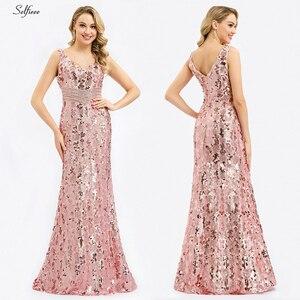 Image 5 - Блестящие женские платья с блестками, длинные летние платья русалка без рукавов с v образным вырезом, элегантные вечерние платья 2020