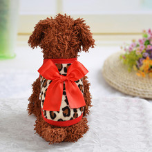 Рождественская теплая одежда для собак с бантом и леопардовым узором, костюм для собак, вязаное пальто, одежда, жилет, куртка, одежда, одежда для домашних животных, подарок