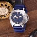 Reloj de goma de cerámica azul y negro plateado de acero inoxidable de zafiro mecánico automático nuevo de lujo para hombre luminoso de 47mm limitado