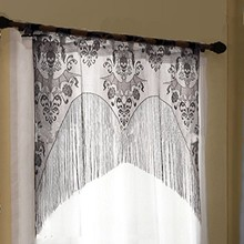 97x102 Halloween Window Curtain Lace Spider Web Skull Cover Valance With TasselCM