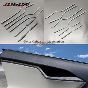 Strip-Panel Tesla-Model Real-Carbon-Fiber Decoration for Inner-Door Protection-Trim 8pcs