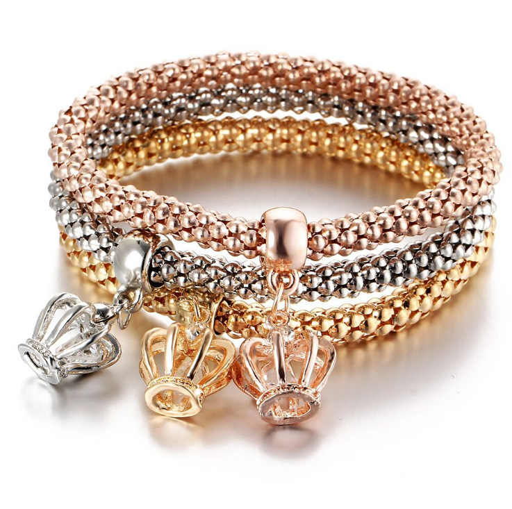 3 Pcs/Set Crystal Owl Heart Charm Bracelets & Bangles Gold/Silver Color Crown Pendants Rhinestone Bracelet For Women