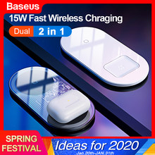 Baseus 2 in1 Wireless Charger Quick Charging For iPhone 11 Airpods 15W Qi Fast Charger For Xiao mi Redmi Samsung Huawei Mate 30(China)