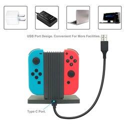 Akcesoria do gier Joystick ładowarka 4 Port stacja dokująca do Joy Con Adapter kontrolerów podstawka ładująca NS Joy-Con dla przełącznik do nintendo