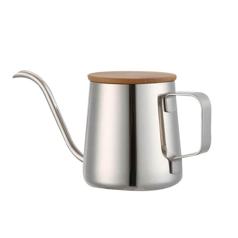 350Ml Long bec étroit cafetière col de cygne bouilloire en acier inoxydable main goutte à goutte bouilloire verser sur le café et théière en bois