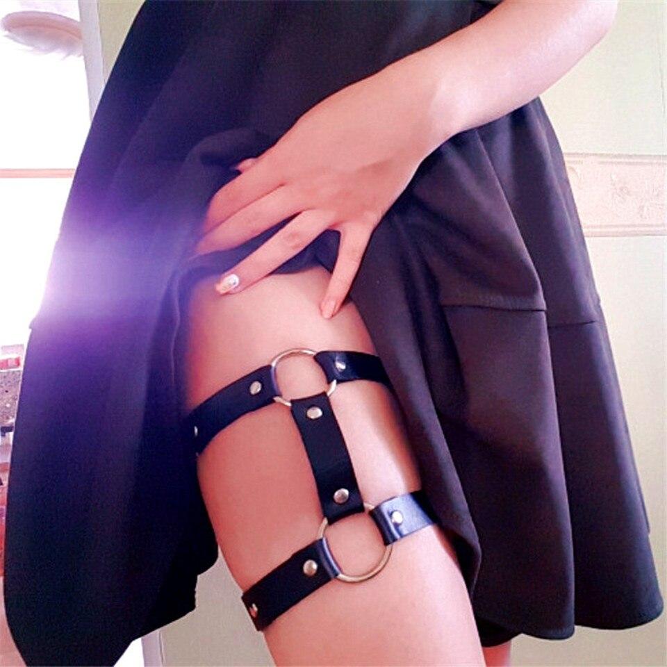 Сексуальные женские эластичные кожаные ноги кольцо подвязки ремень панк кольцо на бедро готика, Харадзюку бантик узел Наплечные ремни ремень подвязки