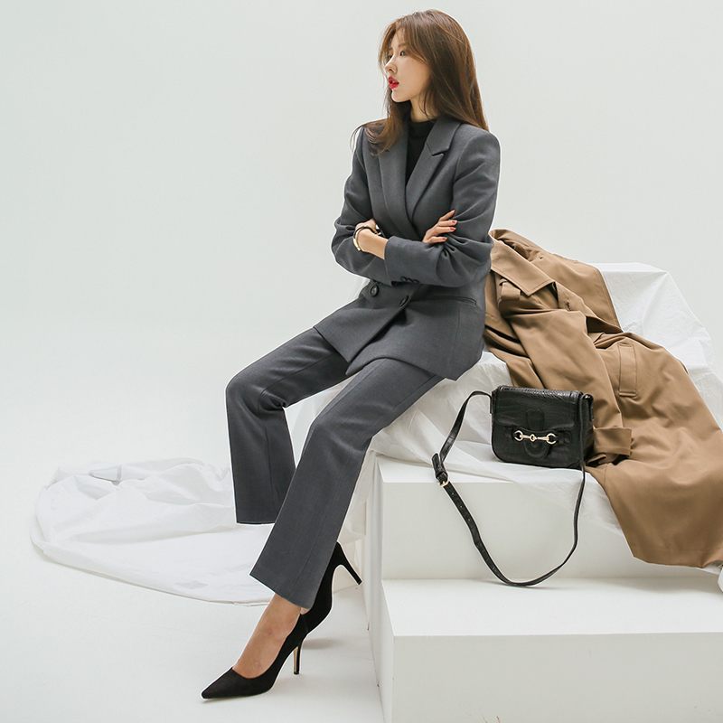 Elegant Gray Pant Suits Women Double Breasted Jacket & High Waist Suit Pants Two Pieces Sets Female Blazer Sets vs440