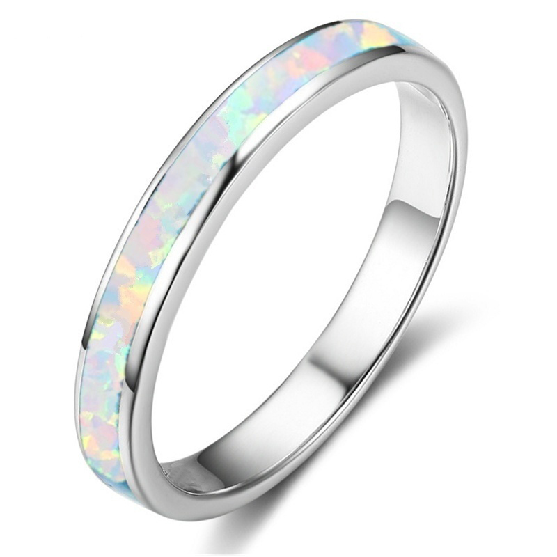 Fashion Imitation White Fire Opal Ring For Women Accessories  Jewelry Bohemian Vintage Round Geometric Ring Gift