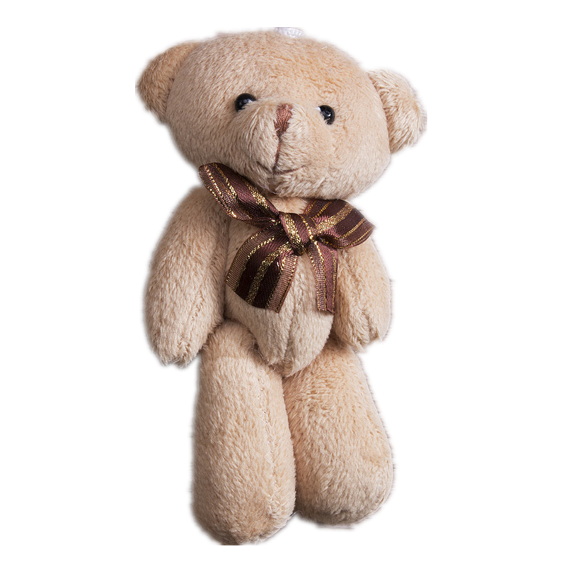 Tiny Lovely Plush Scarf Brown Mini Teddy Bear Stuffed Animal Soft Toys 12CM For Bouquet Plush Animals Kids Gift