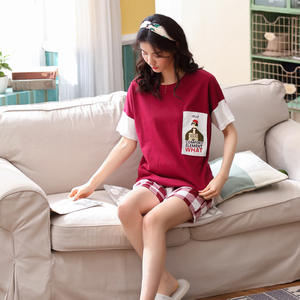 Cute Sleepwear Nightwear Pajamas-Sets Short-Sleeve Cotton Cartoon Summer Women Sweet