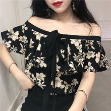 Sexy Slash Neck Floral Print Blouses Female Blouse Tops Women Fashion Halter Chiffon Blouse floral chiffon see thru blouse