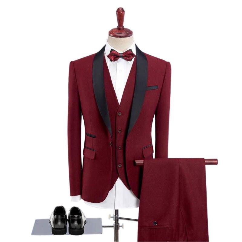Black Satin Shawl Lapel Men Suit 2019 Wedding Suits For Men Mens Party Suits With Pants 3 Piece Groom Suit Men Slim Fit Tuxedo