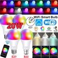 15W WiFi смарт-лампы B22 E27 LED RGB светильник лампы работать Alexa Google Home с цветовой моделью RGB + диммируемая на пульте управления Управление Colore светил...