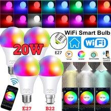 15w wi fi inteligente bulbo b22 e27 led rgb lâmpada de luz trabalho alexa google casa com rgb + regulável controle remoto colore luz mágica lâmpada