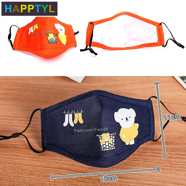 1Pcs Mouth Mask Children Kids Thicken Cotton Face Mouth Mask Pollution PM2.5 Mask Cute Bear Cartoon Animal 3