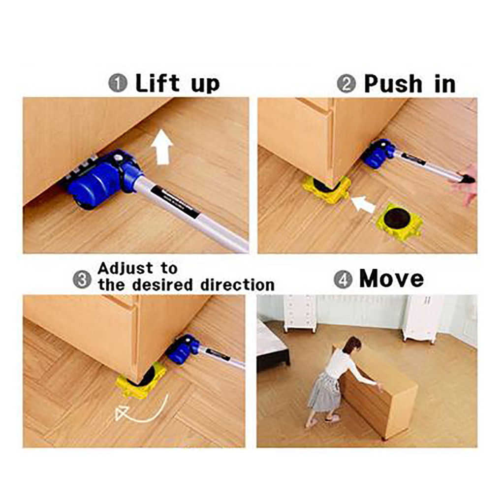 Convenient Large furniture moving tool 5 In 1 Moving Heavy Object Handling Tool 1pc Lever+4pcs Sliders 200kg maxi load bear #32