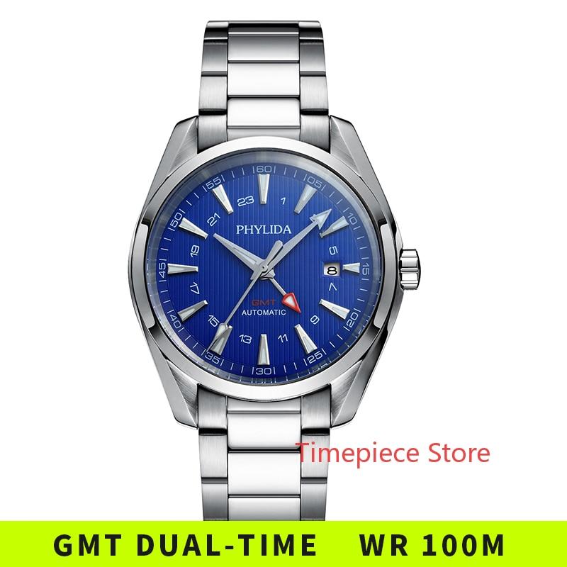 Reloj GMT automático resistente al agua de 10bar, esfera azul, Aqua, mecánico, de pulsera, cristal de zafiro sólido, azul luminoso