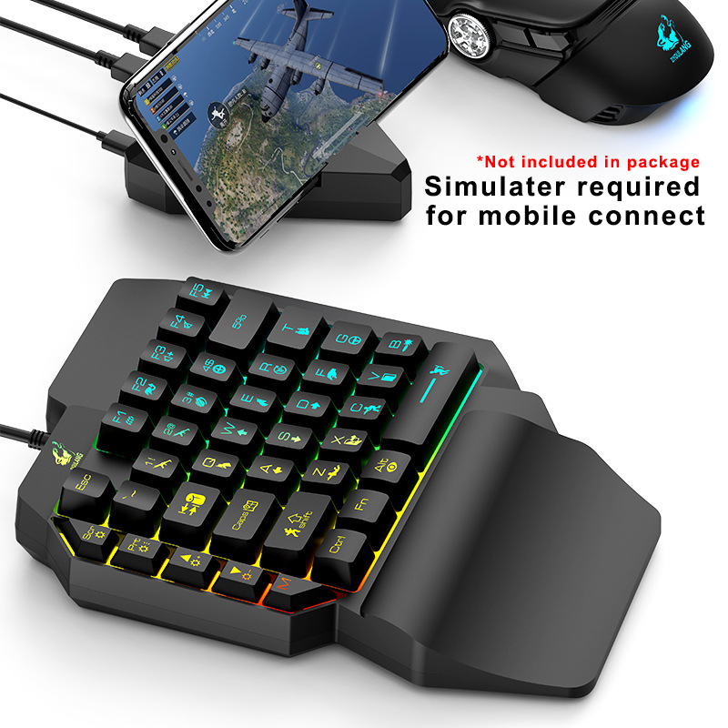 Image 3 - Left Hand Keyboard Single Hand Keyboard Mechanical Feel Game Keyboard for Mobile Tablet Laptop PUBG GameKeyboards   - AliExpress