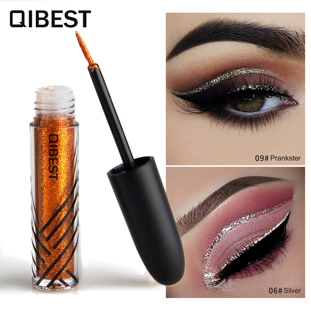 QIBEST 13 Colors Gloss Eyeliner Liquid Pencils Beauty Waterproof Cosmetic Glitter Liquid Precise Easily Hold Different Makeup