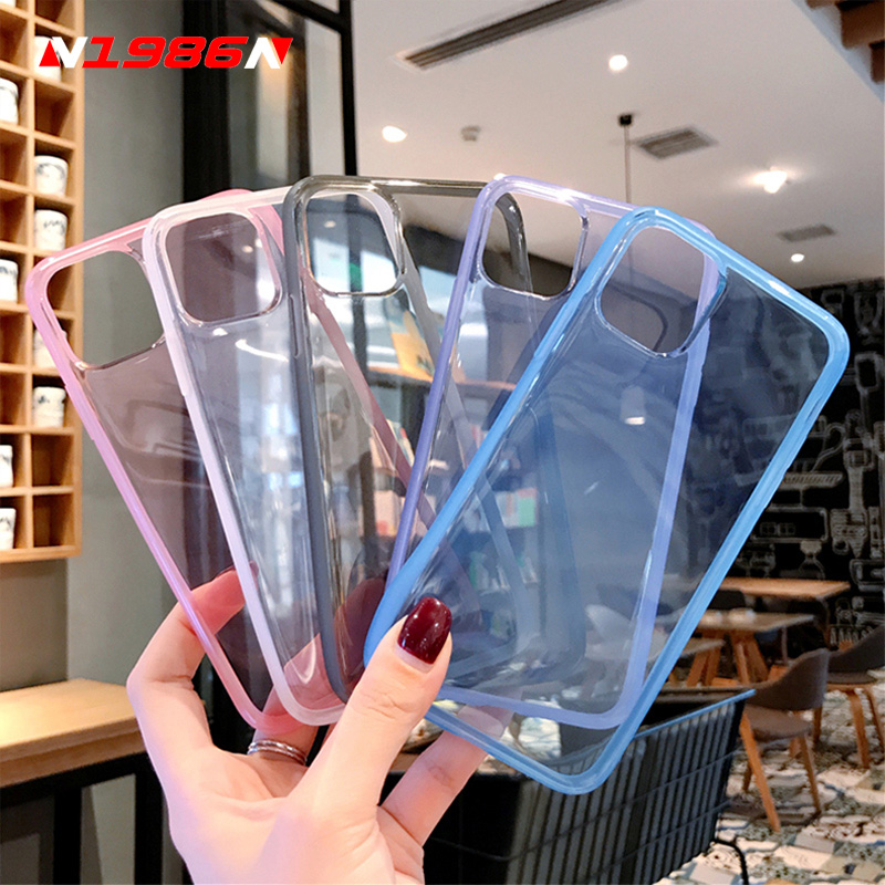 N1986N For iPhone 11 11 Pro Max X XR XS Max 6 6s 7 8 Plus Phone Case Fashion Clear Mirror Anti Knock Frame Soft TPU For iPhone X