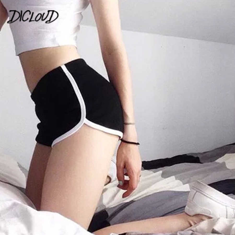 DICLOUD Mode Stretch Taille Casual Shorts Frau 2018 Hohe Taille Schwarz Weiß Shorts Harajuku Strand Sexy Kurze Frauen Kleidung