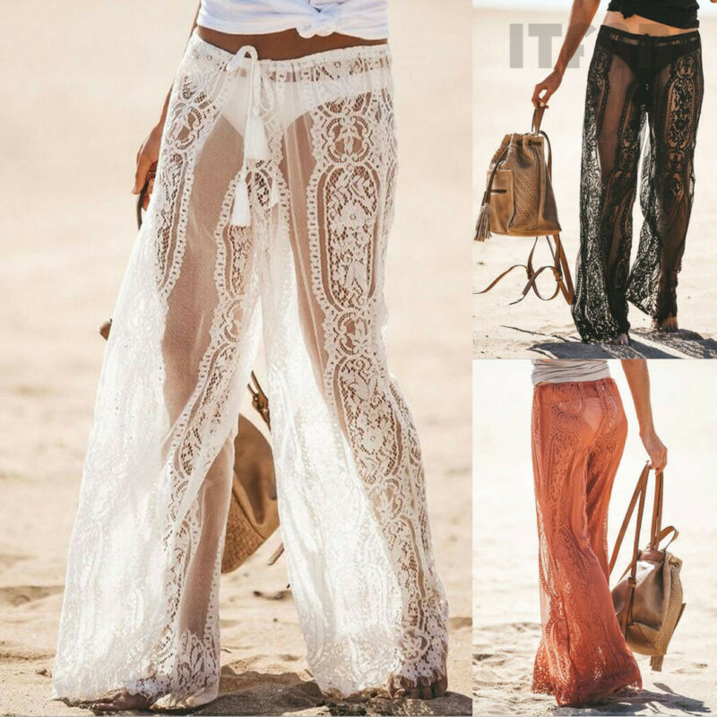 Brand New Beach Style Women Lace Bell Bottoms Flare Trousers Wide Leg Long Pants Hollow Out See Through Lace-up Pants