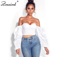 Znaiml Sexy Off Shoulder Crop Top Blouse Padded Boned Corset Streetwear Nine Quarter Lantern Sleeve Backless Bustier Outfits Top(China)