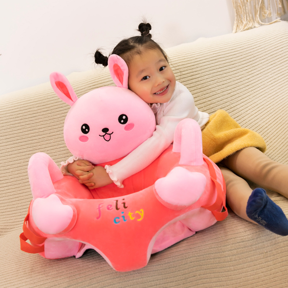 Baby Sofa Chair Support Seat Cover Baby Plush Chair Cartoon Learning Sit Plush Chair Toddler Nest Puff Washable With Rod No Fill