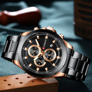 Image 4 - CURREN New Mens Watches Fashion Casual Stainless Steel Band Chronograph Quartz Watch Men Date Sport Military Male Clock 8354