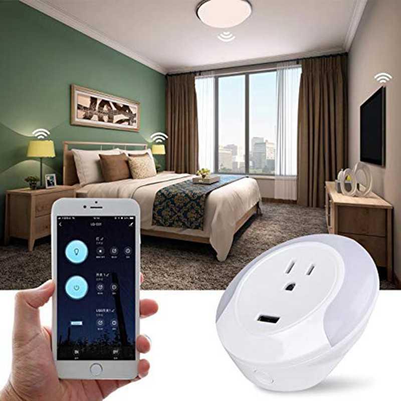 Led Notturna Intelligente Wifi Socker Con 5V Usb Charger Port, Funziona Per Alexa Google Assistente Spina Degli Stati Uniti
