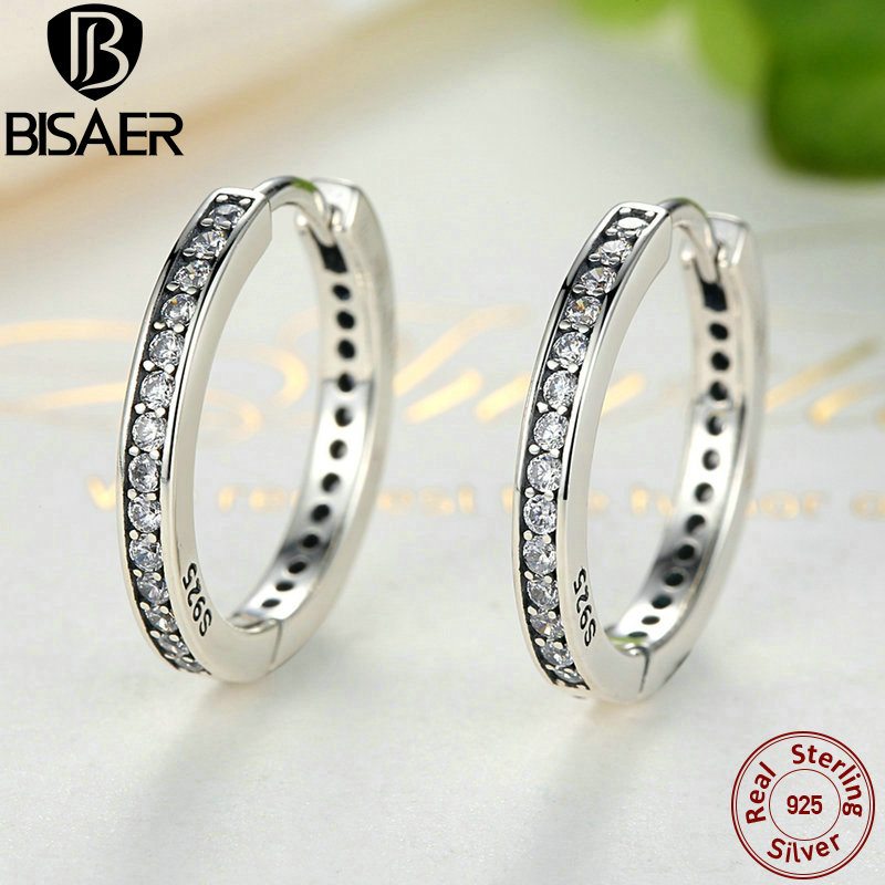 Genuine 925 Sterling Silver Eternity Round Hoop Earrings For Women Ear Cuff Brincos Sterling Silver Brand Fine Jewelry GOS456