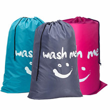 Sac à linge en Nylon lavable en forme de sourire, pochette de rangement de voyage lavable en Machine, organisateur de vêtements sales, sac à cordon