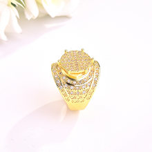 Copper Gold Plt Luxury Crystal Female Zircon Stone Ring Fashion Bridal Wedding Rings For Women Promise Love Engagement Ring(China)