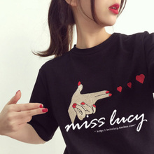 New Summer T-Shirt Women Personality Print Short-Sleeved Korean Version Tide Harajuku Loose Half-Sleeved Female