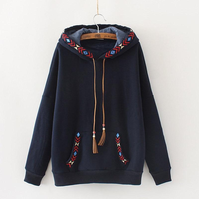 Japanese-style Casual Versatile Ethnic Embroidery Tassel Pullover Warm Men's Sweatshirts & Hoodies Hoodie Women's 26153