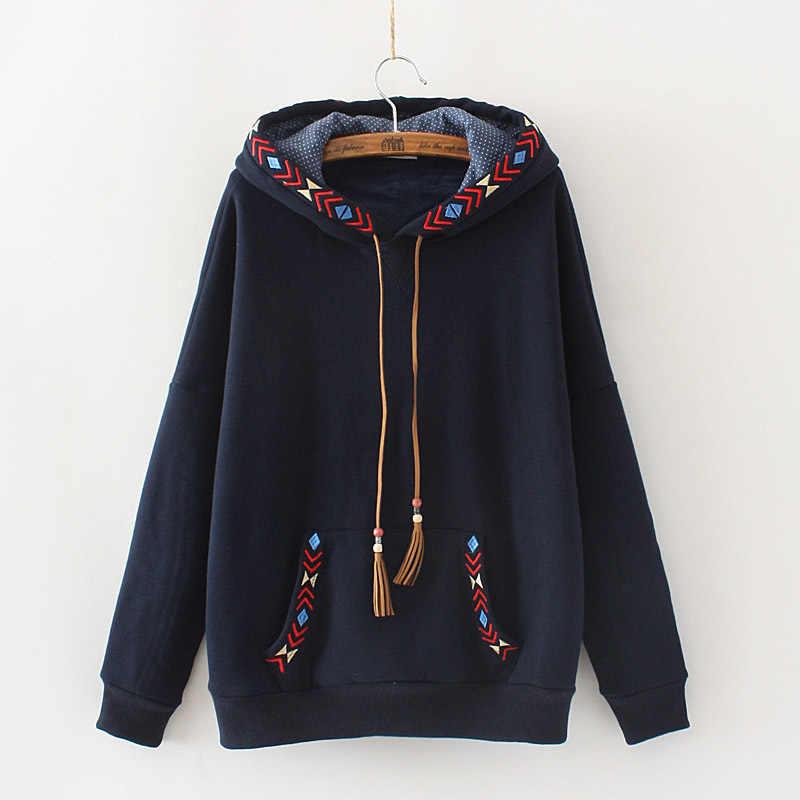 Japon tarzı rahat yönlü etnik nakış püskül kazak sıcak erkek tişörtü ve Hoodies Hoodie kadınlar 26153