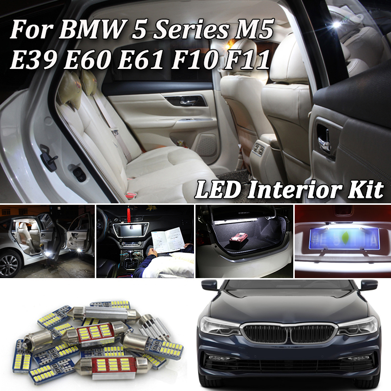 For <font><b>BMW</b></font> <font><b>5</b></font> <font><b>Series</b></font> E39 <font><b>E60</b></font> E61 F10 F11 M5 FULL LED Interior Lights kit Error Free SMD LED Bulbs White Crystal blue (1996-2017) image