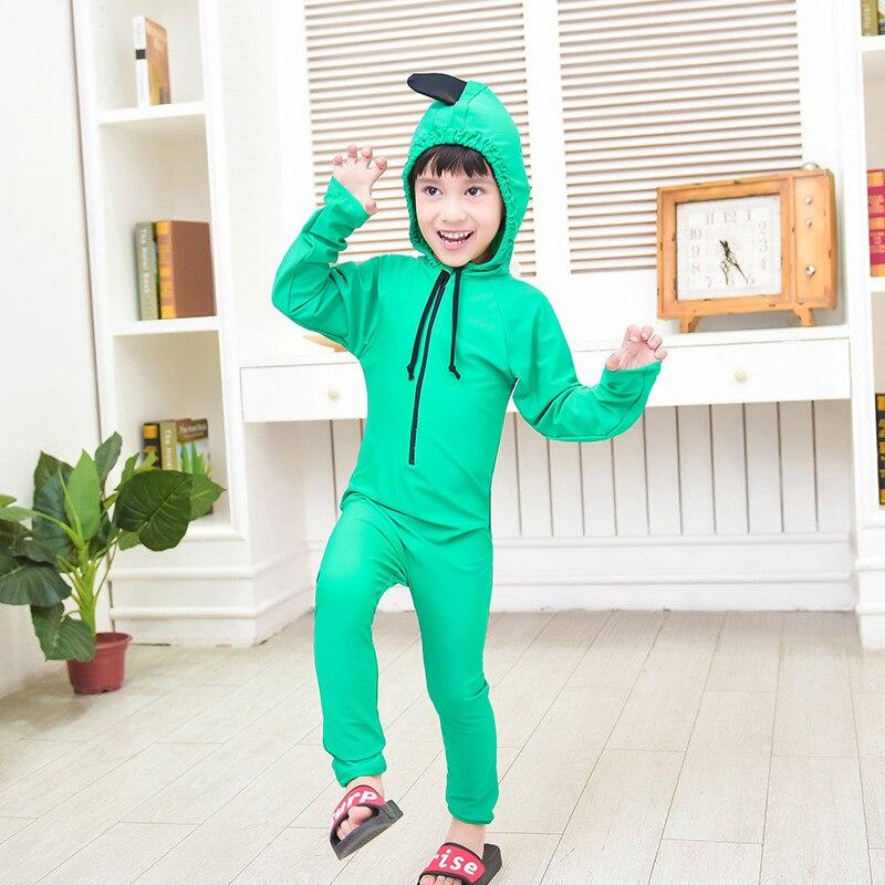 Cute Little Dinosaur One-piece Swimming Suit Long Johns-Warm Quick-Dry Hooded KID'S Swimwear BOY'S Girls Cartoon