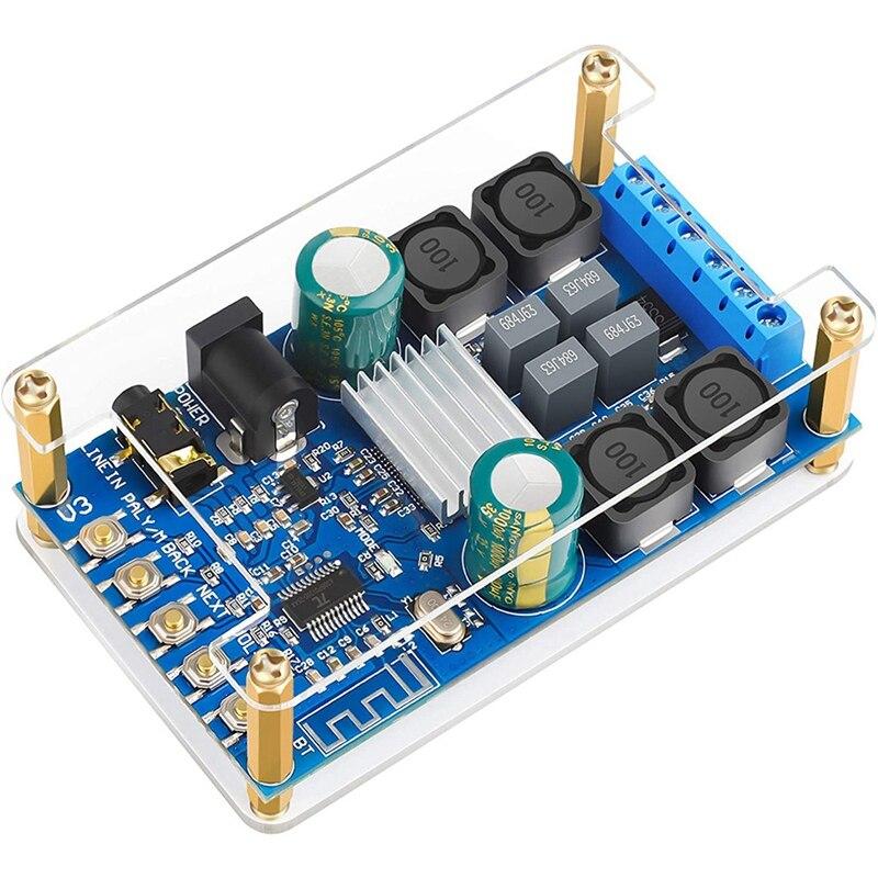 BlueTooth Amplifier Board,Digital Amplifier Audio Amp Board 2 Channel 50W+50W BlueTooth Speaker Board with Case