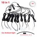 Universal 10 in 1 RGB LED 8M Auto Innen Umgebungs Decor Faser Optische Streifen Licht durch App Control auto dekorative Atmosphäre Lampen