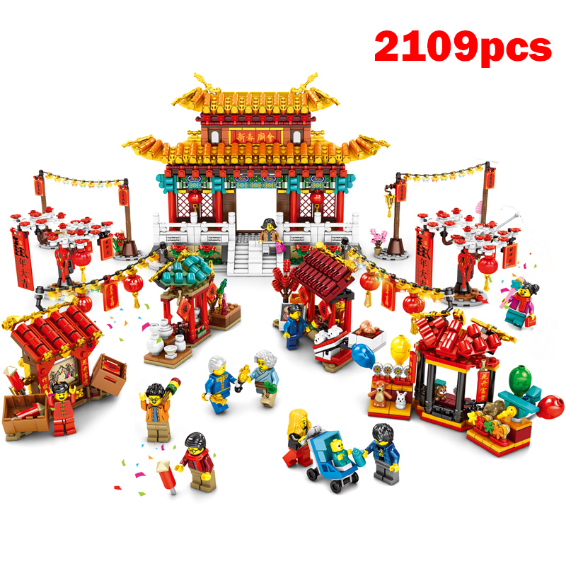2109pcs Chinese New Year Temple Fair Toys Compatible Set Building Blocks Bricks 80105 Assembly Kid Toys New Year Gift