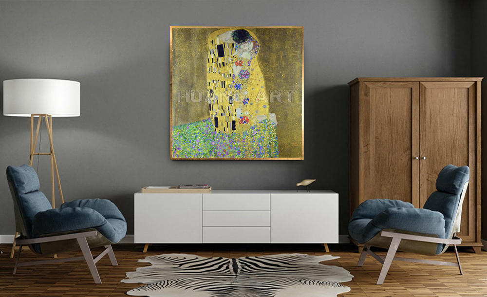 Famous High Quality KISS Painting Hand Painted Oil Painting on Canvas for Room Decor Imitation Painting Gustav Klimt Wall Art - 2