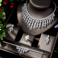 HIBRIDE Dazzling African Cubic Zircon Womens Wedding Necklace Jewellery Set Bridal Party Costume Jewelry Accessories N 123