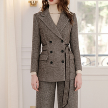 Vintage Wool Pants Suit Woman Elegant HIgh Quality Fashion Chic Double Breasted