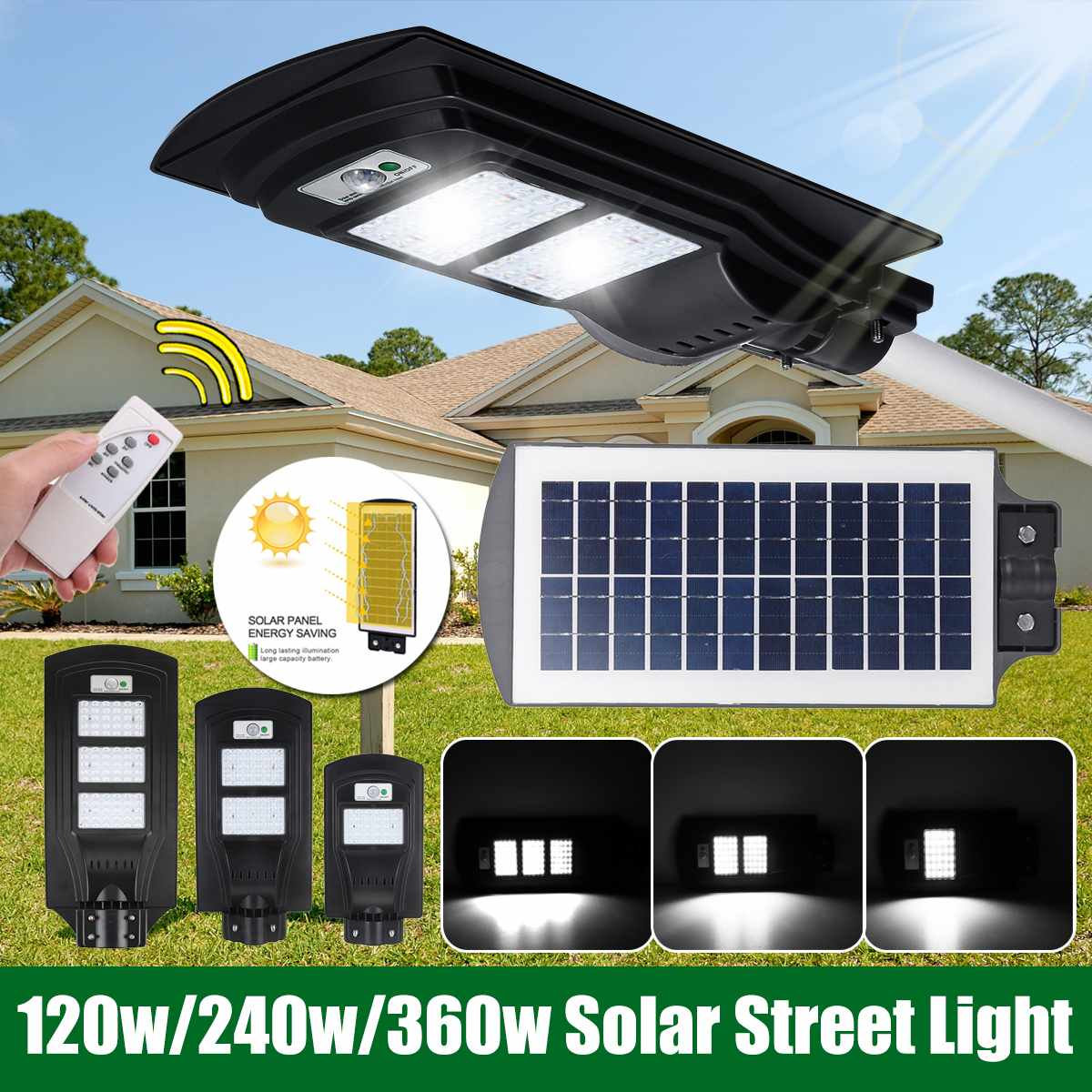 120W/240W/360W Solar Street Light 30/60/90 LED Outdoor Lighting Security Lamp Motion Sensor Waterproof  IP67
