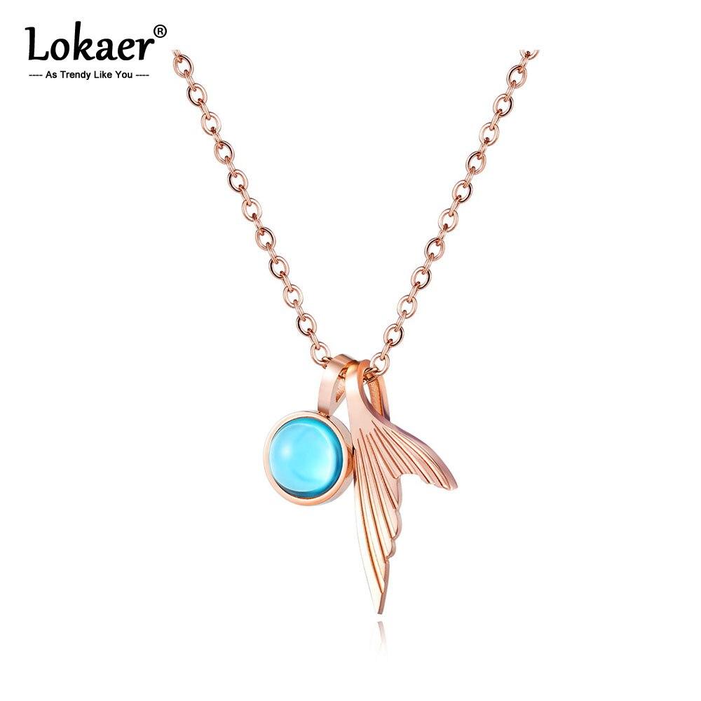 Женское колье-чокер Lokaer, ожерелье из нержавеющей стали с голубым кристаллом «рыбий хвост», розовое золото, N17089