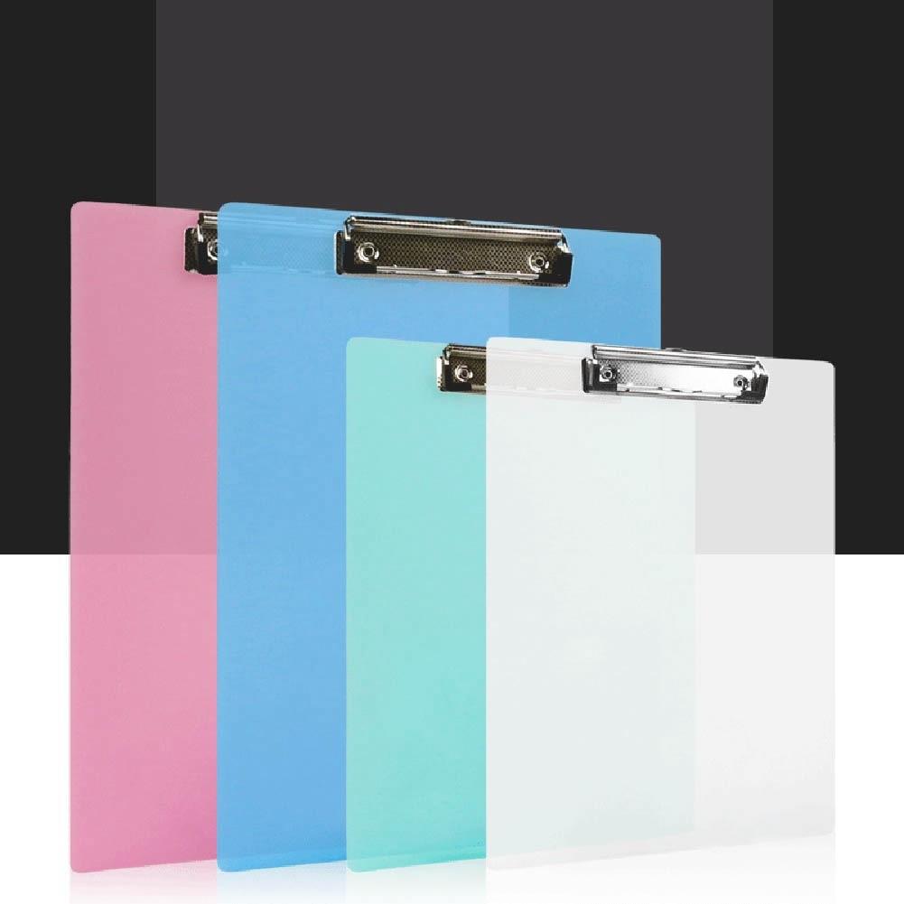 Solid Color Folder Students A4/A5 Transparent Plastic Board Folder Vertical Base Plate Doing Homework Menu Clip  Writing Pad