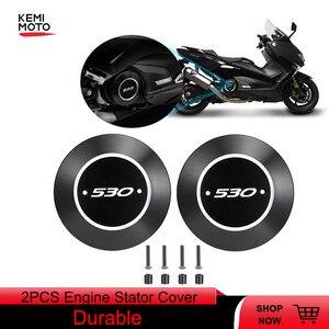 Image 1 - 2 قطعة ل TMAX 530 دراجة نارية محرك التصنيع باستخدام الحاسب الآلي الموالي غطاء المحرك الحرس حامي لياماها TMAX 530 T MAX530 2017 2018 2019 DX SX