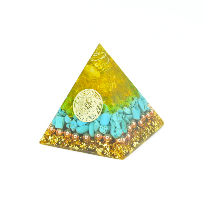 Orgon Energy Pyramid Crystal Healing Ornaments Reiki Crystal Turquoise Citrine Orgonite Emf Protection Chakra Symbol Home Decor